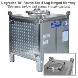 TranStore Storage & Fermentation Tank with Hinged Handwheel Top Manway & Bronze Package, 350 Gallon