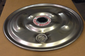 """IBC Lid Drum Cover 22-1/2"""" 304 Stainless Lid with 2"""" Rieke vent in center and offset 2"""" bung"""