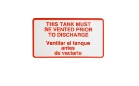 Decal - This Tank Must Be Vented Prior To Discharge