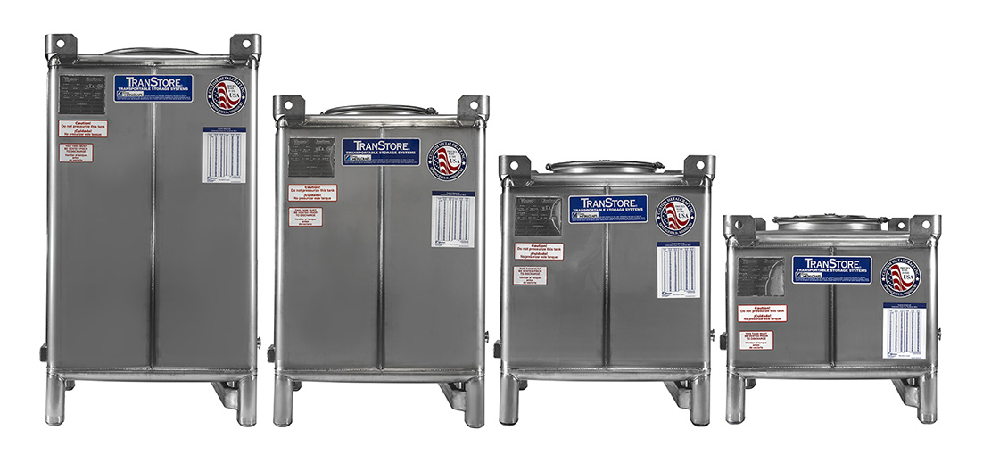 Transtore IBC Tanks Lined Up