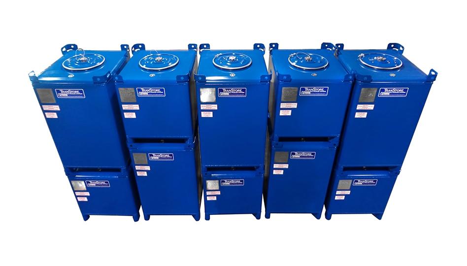 Stacked blue carbon steel Transtore IBCs
