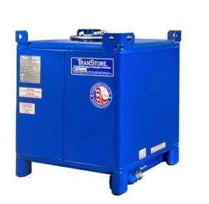 Transtore carbon steel blue 350 gallon IBC tank