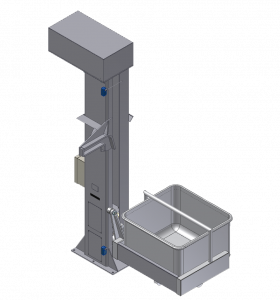 "Column Lifts Stainless Steel Construction 36"" to 30'-0"" dump height Chain or Ball Screw Drive Designed For Floor Level Loading up to +600 lb. Capacity Standard Receivers: V-Mags, Meat Buggy, Drum, Vat, Custom"