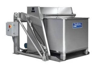 Sanitary pivot dumper with macro bin